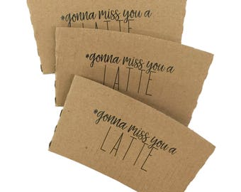 Natural Brown Kraft Coffee Sleeves - Non-Personalized Phrases - FREE U. S. SHIPPING