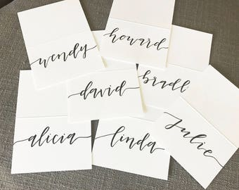 Place Cards - Black & White Flow, Handmade Place Cards, Calligraphy, Wedding