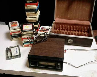 Realistic brand 8 Track Player with 21 8 Track Tapes, Carrying Case and Cleaner