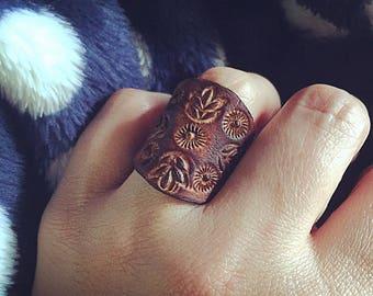 Leather Boho Statement Ring
