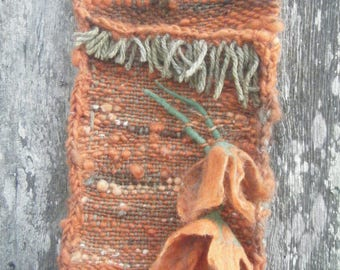 "empty - Pocket ""pumpkin"" weaving felted orange and green flowers"