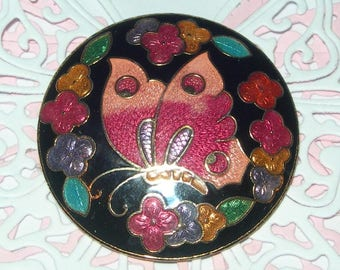 Brooch butterfly, enamelled, cloisonne, vintage, pink and black, round