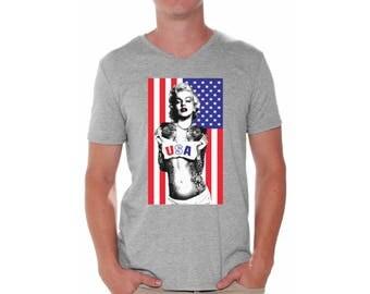 Merylin Monroe USA Flag Shirt V-neck T shirt Tops 4th of July USA Independence Day Flag Monroe