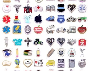 When I Grow Up! Pick a Profession Floating Charm for Living Memory and Glass Story Locket - Nurse, Medical, Police, Farmer, Postman, Teacher