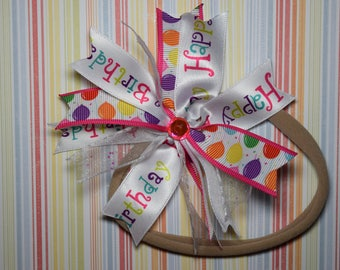 One size nylon happy birthday headband