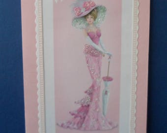 Birthday Card Edwardian Elegant Lady Pink Glitter Dress