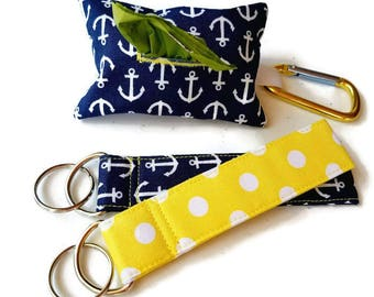 Dog Poop Bag Holder, Waste Bag Dispenser, Refuse Bag Container, Carabiner Clips to Leash, Available Matching Key Chain! Free Waste Bags!