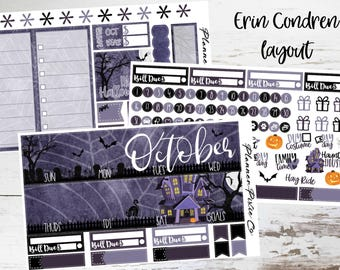 October Monthly Kit // Vertical Planner Stickers // For Use With Erin Condren Life Planner or MAMBI Happy Planner