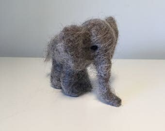 Cute needle felted, Waldorf, gray, wool elephant - toy, decoration, gift