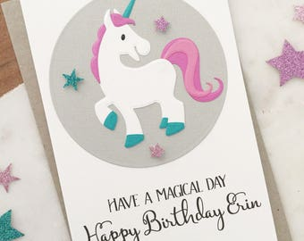 Cute Unicorn Card, Unicorn Birthday Card, Birthday Girl, Magical Unicorn Gift for Her, Personalised Card, Kids Birthday Card, Handmade