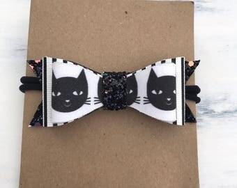 Black cat bow / baby bow headband / halloween bow headband / glitter bow