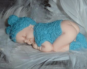 Polymer clay baby blue Teddy bear for baptism, birth, birthday...