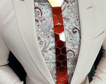 Dapper Rose Gold Hex Honeycomb Tie( Suit Accessories - NeckTie, Neck tie Honeycomb Modern Unique Hexagon groom)