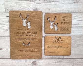 Scottish laser cut wood wedding invitation stag and doe stag wedding stationery
