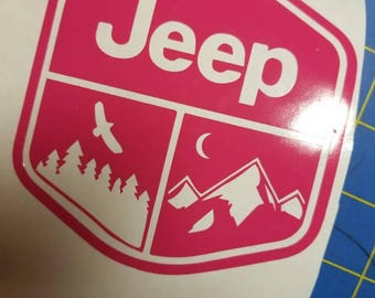 Mountain jeep badge decal
