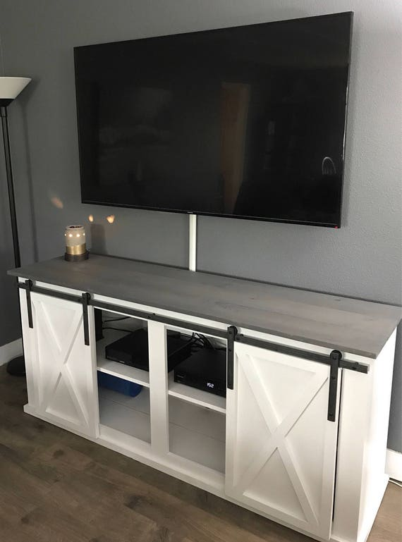 & Sliding Barn Door TV Stand / Media Console pezcame.com