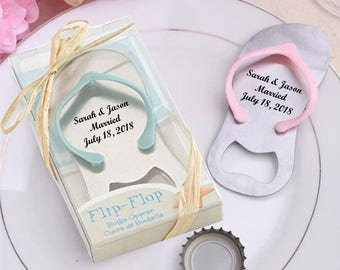 Personalized Beach Flip Flop Bottle Opener Party Wedding Favors