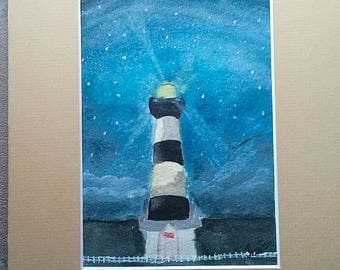 Lighthouse, original watercolor painting, signed, night light, landscape, 8x10, Bodie Lighthouse, wall decor, art