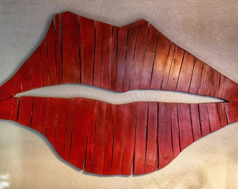 Lips, wall art, reclaimed wood lips