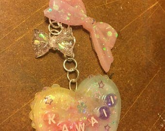 Kawaii heart resin charm