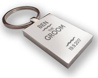 Personalised engraved GROOM keyring wedding gift, thank you favour - RP3