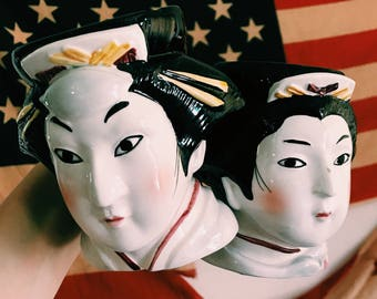 Pair of Vintage Japanese Geisha Mugs