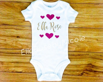 Baby Girl Outfit / Personalized Baby Outfit / Girl Announcement / Baby Girl Take Home Outfit / Baby Girl Hospital Outfit Personalized