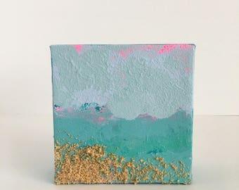 Pink Skies Abstract Ocean Painting 4x4 Mini Beach Art
