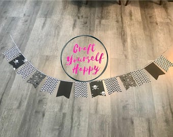 Black white and silver fabric halloween banner