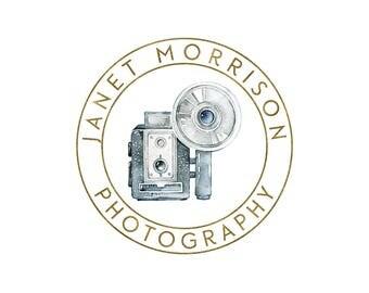 premade logo, photography logo design, camera logo, circle logo, watercolor logo, business branding, photography watermark 006