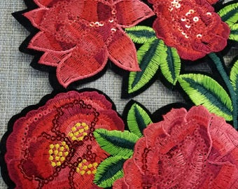 Red embroidered flower applique with sequins #7C1475