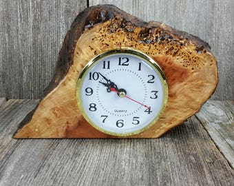 Redwood Burl Clock Table Shelf Mantle Desk Office Gifts for Men Sitting Wood #K