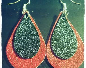New!!Layered Red and Black Cut Leather Tear Drop Earrings. Leather Tear Drop Earrings.