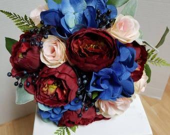 Silk Flower,Wedding,Bridal Bouquet,Dark Red Peony,Burgundy,Winter,Royal,Blush Pink Rose,Maroon,Navy Blue,Hydrangea,Berry,Greenery,Eucalyptus