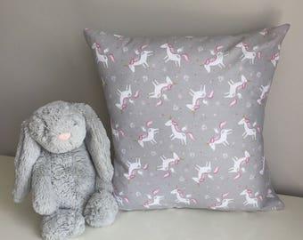 Unicorn Print Cushion, Unicorn Nursery Bedding
