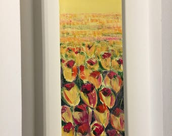 Flower picture narrow vertical wall art. Painted with tulips, handmade in Italy. Engagement gift home decor.
