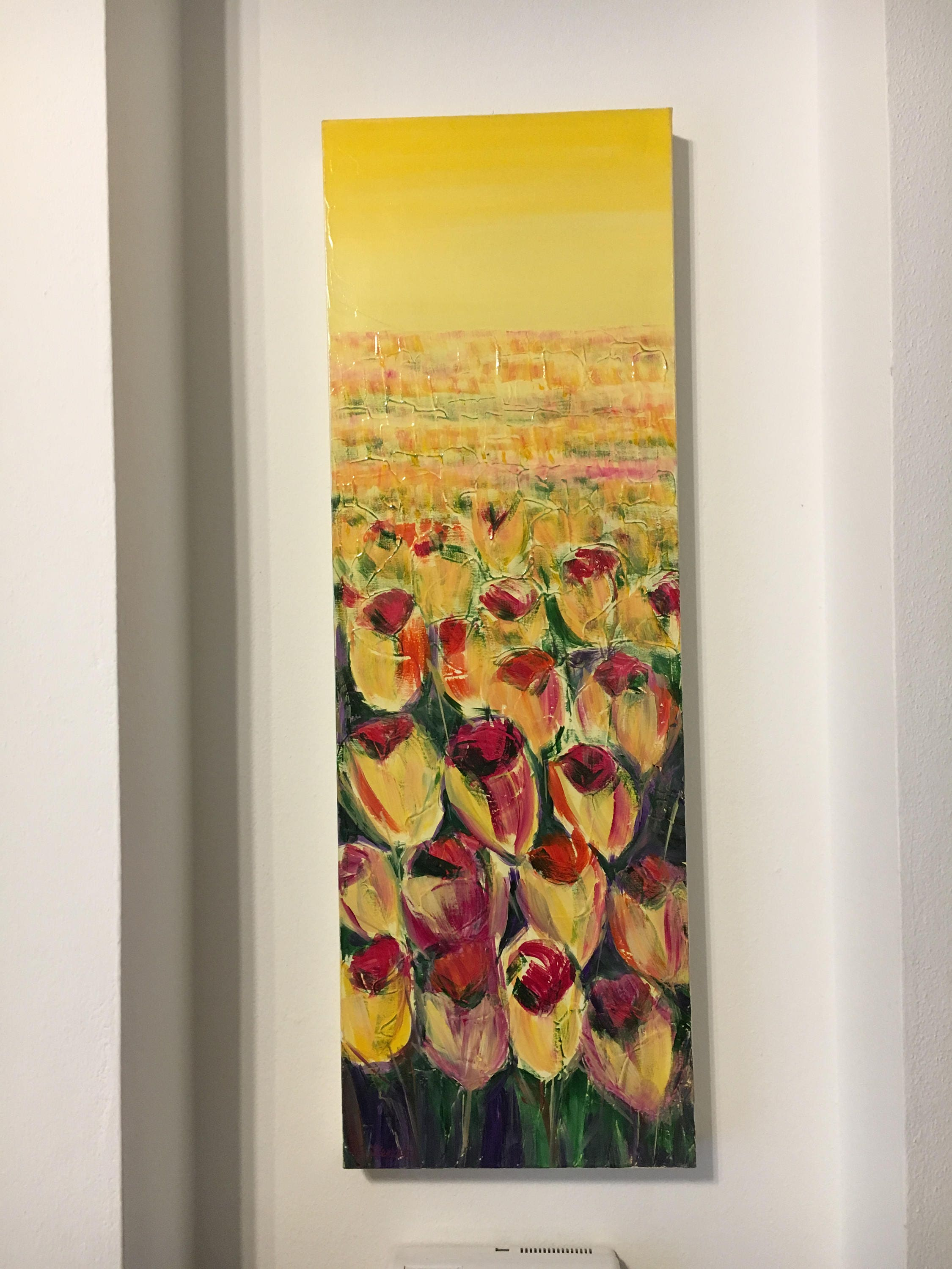 Flower picture narrow vertical wall art. Painted with tulips