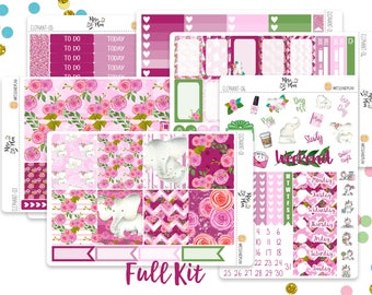 Elephant Floral- Vertical Weekly Kit planner stickers