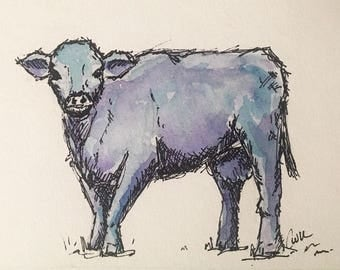 "5""x7"" Watercolor Blue Cow Print"