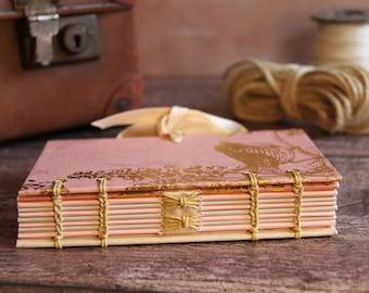 Hand bound Coptic Notebook | Journal | Sketchbook |A6 Golden Bird