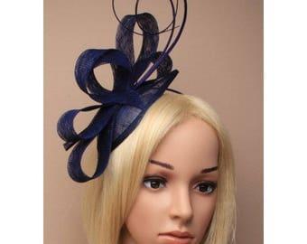 navy blue sinamy fascintor, wedding fascinator, derby hat fascinator, blue church hat, bridal fascinator, wedding headpiece, fascinator hat