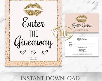 Gold|Glitter|Blush|Pink|LipSense Raffle Ticket Set|Printables|LipSense Party|Event|SeneGence|Branding|Marketing|Bundle|Makeup Party|Giveaway