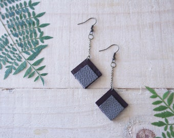 Small Geometric Leather Earrings / Square / Grey & Brown