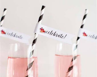 Celebrate party flags, celebrate flag cupcake toppers, celbrate party flag straws.