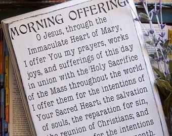 Rustic Catholic Morning Offering Prayer Sign