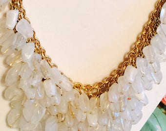 Goldtone and Clear/White Lucite(?) Beaded Bib Necklace