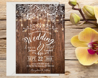 Rustic Wedding Invitation, Boho Wedding Invitation, Wedding Invitation Template, Wedding invitation, Printable wedding invitation