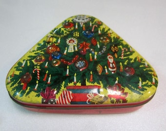 Antique Vintage Triangular 'Horner' Toffee Tin - Old Collectable Sweets Tin from England