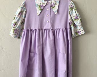 Vintage 70's Girls Dress Lilac Size 5 / 6