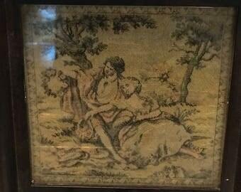 Vintage Framed Tapestry - Victorian Couple - Old!
